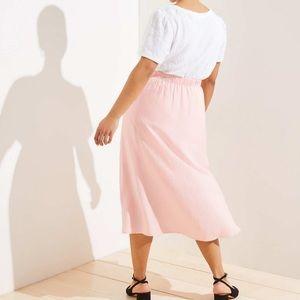 LOFT pull on pink midi skirt with slit XL NWT